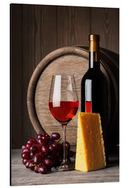 Aluminium print  Red wine with cheese and grapes