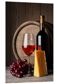 Foam board print  Red Wine with Cheese and Grapes