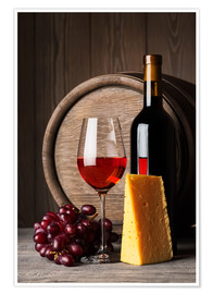 Poster Red wine with cheese and grapes