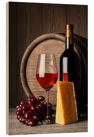 Wood  Red wine with cheese and grapes