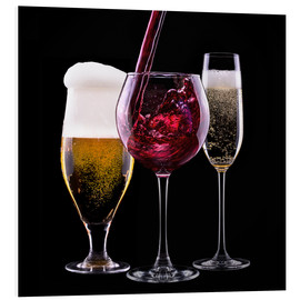 Foam board print  drinks - beer, wine and champagne