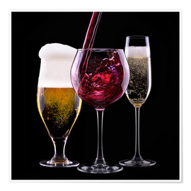 Premium poster  drinks - beer, wine and champagne
