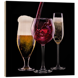 Wood print  drinks - beer, wine and champagne