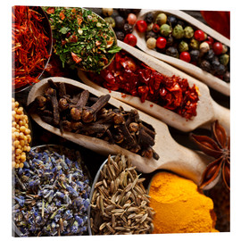 Acrylic glass  Colorful spices and herbs