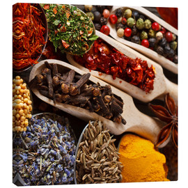 Canvas  Colorful spices and herbs