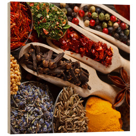Wood print  Colorful Spices and Herbs