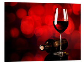 Acrylic print  Red wine in wineglass and bottle
