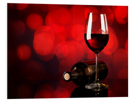 Forex  Red wine in wineglass and bottle