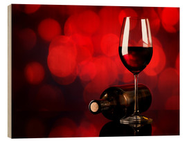 Wood print  Red wine in wineglass and bottle