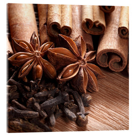 Acrylic print  Cinnamon on wood