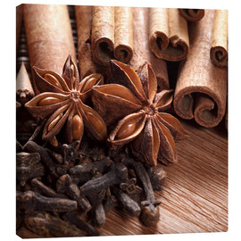 Canvas print  Cinnamon on wood