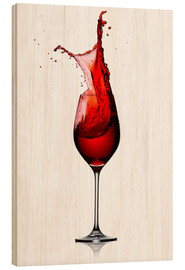 Wood print  Red Wine Glass