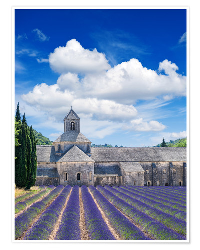 Premium poster Sénanque abbey with lavender field, Provence, France