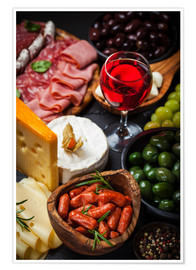 Premium poster  Antipasti and red wine