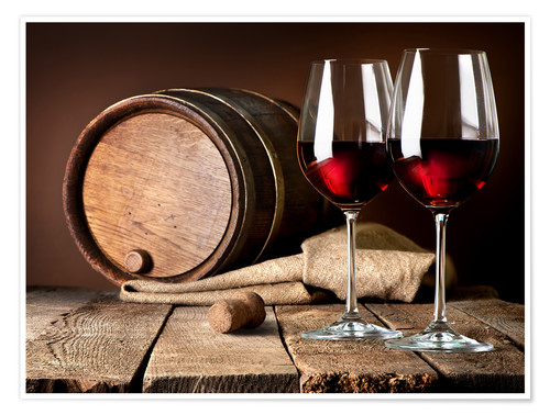 Premium poster Barrel and wine glasses with red wine