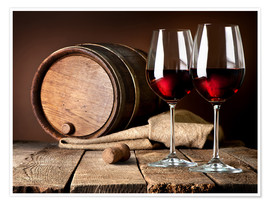 ab7eb3ed1 Premium poster Barrel and wine glasses with red wine