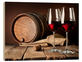 Wood  Barrel and wineglasses of red wine