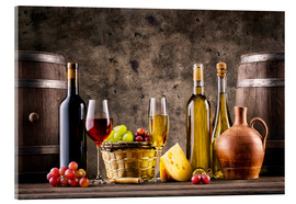 Acrylic glass  Wine, grapes, barrels and cheese
