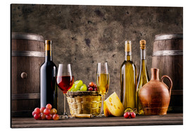 Aluminium print  Wine, grapes, barrels and cheese