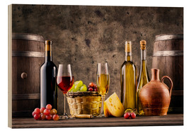 Wood print  Wine, grapes, barrels and cheese
