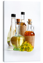 Canvas print  Oils in glass bottles