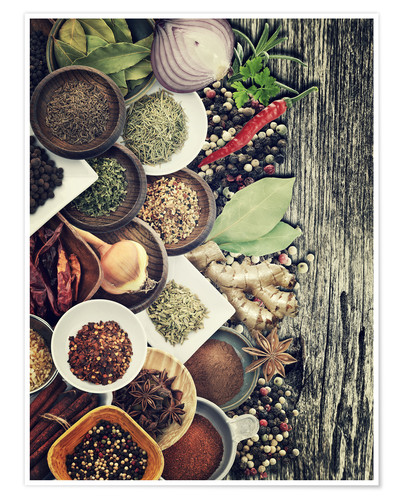 Premium poster Spices And Herbs On Rusty Old Wood