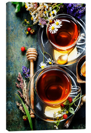 Canvas print  Herbal tea with honey, berry and flowers