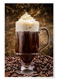 Premium poster  Irish coffee on wooden table with coffee beans