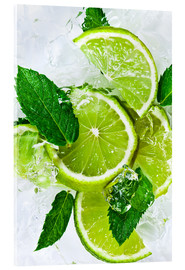 Acrylic print  lime slices with ice and peppermint leaves