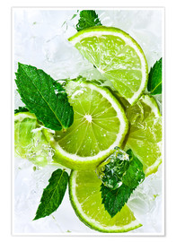 Premium poster  lime slices with ice and peppermint leaves