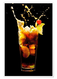 Poster  Cuba Libre Cocktail with splash