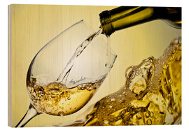 Wood  White wine in wineglass