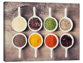Canvas print  Spices and herbs in ceramic bowls