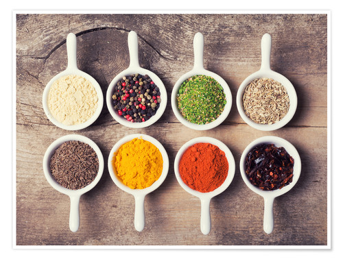 Premium poster Spices and herbs in ceramic bowls