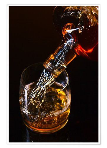 Premium poster whiskey and ice on a glass table