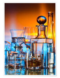 Poster  alcoholic drinks on glass table