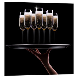 Acrylic print  Tray of Champagne