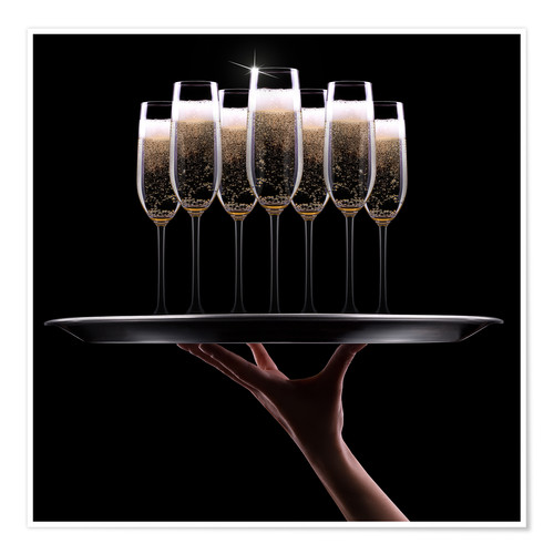 Premium poster hand with champagne