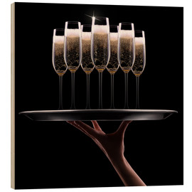 Wood print  hand with champagne