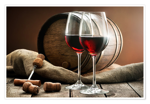 Premium poster Wine and barrel on a wooden table