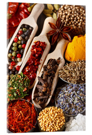 Acrylic glass  Colorful aromatic spices and herbs