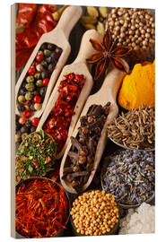 Wood  Colorful aromatic spices and herbs
