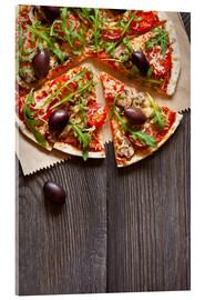 Acrylic print  Pizza with mushrooms and arugula