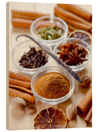 Wood print  Christmas spices