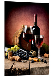 Acrylic glass  Red wine with grapes and corks