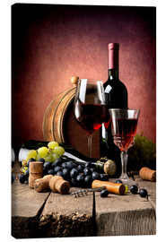 Canvas  Red wine with grapes and corks