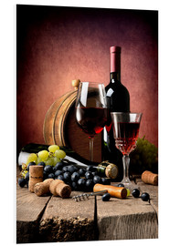 Foam board print  Red wine with grapes and corks