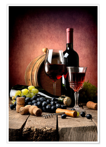 Poster Red wine with grapes and corks