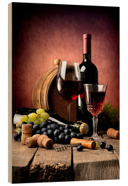 Wood print  Red wine with grapes and corks