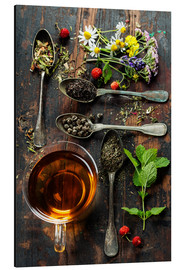 Aluminium print  Tea with honey, wild berries and flowers